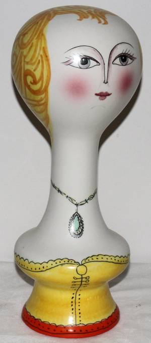081355 ITALIAN HAND PAINTED PORCELAIN WIG OR HAT STAND