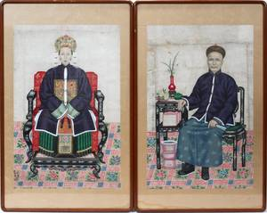 112404 CHINESE ANCESTRAL PORTRAITS WATERCOLOR ON PAPE