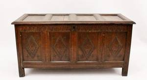 Large Carved Wood Blanket Chest Circa 1860s
