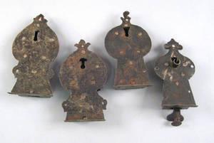 Four Pennsylvania wrought iron grab locks 18th c