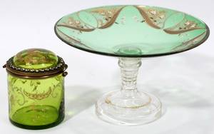 081388 VICTORIAN GLASS DRESSER BOX  CRYSTAL  COMPOTE