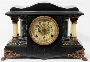 080376 SETH THOMAS LACQUERED WOOD MANTLE CLOCK