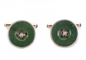 Pair of Faberge Nephrite Jade  Diamond Cufflinks