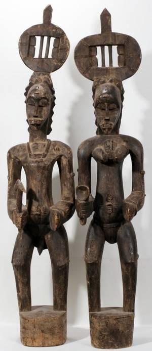 072450 CARVED WOOD AFRICAN FERTILITY STATUES 2