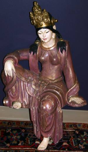 070396 CARVED  POLYCHROME WOOD FIGURE OF QUAN YIN