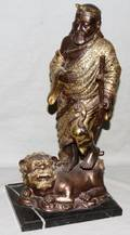 070406 CHINESE ELDER STATUE WITH FOO DOG H 18