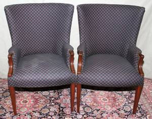 120468 MAHOGANY AND UPHOLSTERED ARM CHAIRS PAIR
