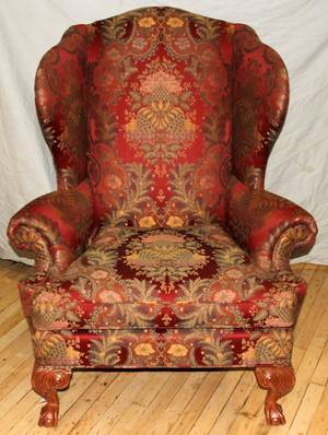 120502 PAIR OF CARVED MAHOGANY WING BACK CHAIRS