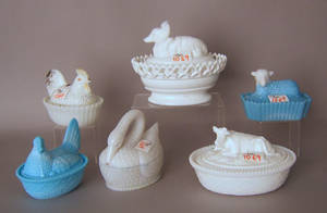 Six milk glass candy dishes Provenance The Estate of Anne Brossman Sweigart