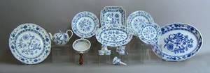 Thirteen pcs of Meissen blue onion china