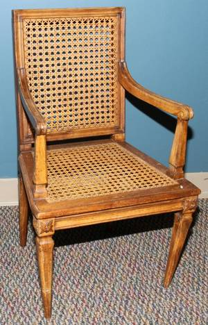 080452 FRENCH WALNUT  CANED CHILDS CHAIR H 28
