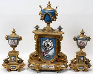 111031 FRENCH PORCELAIN  GILT BRONZE CLOCK GARNITURE