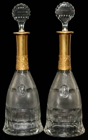 111029 MOSER SPLENDID GOLD GLASS DECANTERS TWO