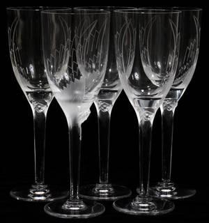 110008 LALIQUE CUT CRYSTAL WINE GLASSES FIVE H 8