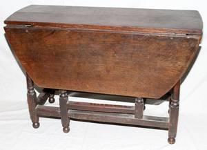 091046 ENGLISH OAK DROPLEAF TABLE 17TH C H 28