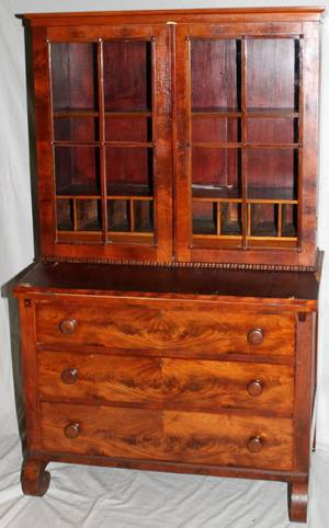 090050 AMERICAN EMPIRE MAHOGANY SECRETARY 19TH C