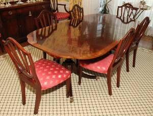081019 BAKER FURNITURE CO MAHOGANY DINING TABLE