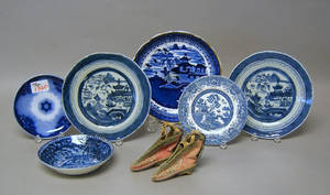 Group of blue and white Canton plates and saucers and a pair of Chinese shoes