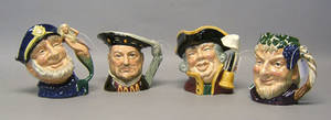 Four Royal Doulton toby mugs to include Henry VIII