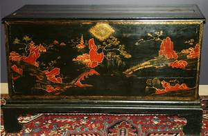 070024 CHINESE BLACK LACQUER CHEST H 34 W 58