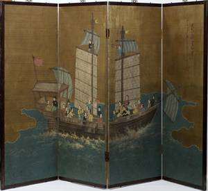 070022 CHINESE HAND PAINTED FOURPANEL SCREEN 20TH C