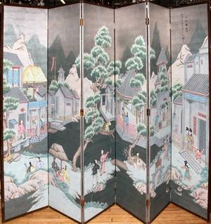 070021 CHINESE HAND PAINTED 6PANEL SCREEN 20TH C