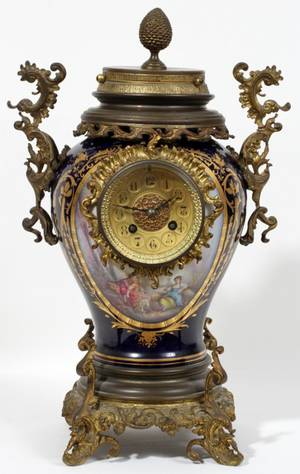 062058 FRENCH SEVRES PORCELAIN AND BRONZE CLOCK
