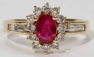 031069 14KT GOLD RUBY  DIAMOND RING