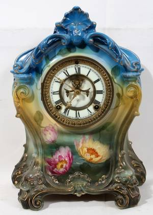 011083 ROYAL BONN ANSONIA WORKS CHINA MANTEL CLOCK