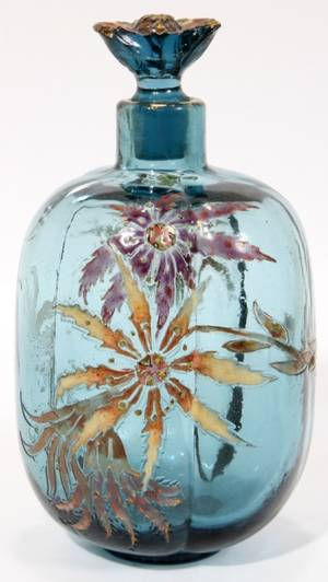011073 GALLE GLASS PERFUME BOTTLE C 1890 H 5 AS IS