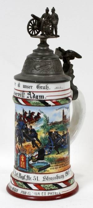 121088 GERMAN PORCELAIN REGIMENTAL STEIN
