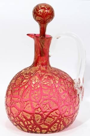 031118 LOETZ CRANBERRY GLASS CRUET C 1900 H 9