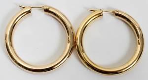 021087 14KT YELLOW GOLD HOOP EARRINGS PR DIA 1 34