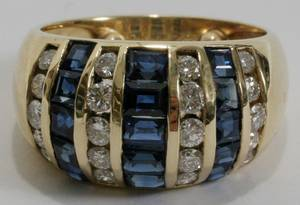021082 14KT YELLOW GOLD DIAMOND  SAPPHIRE RING