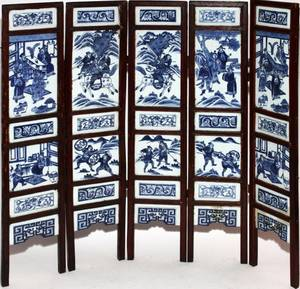 CHINESE BLUEWHITE PORCELAIN FIVEPANEL SCREEN