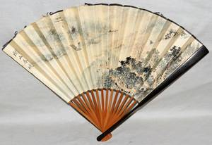 031160 CHINESE HANDPAINTED PAPER FAN H 12
