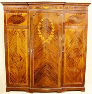 Late 19th C Mahogany Inlaid Armorie
