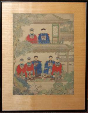 012073 VINTAGE CHINESE ANCESTRAL PAINTING ON SILK