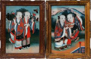 121181 CHINESE REVERSE PAINTINGS ON GLASS TWO