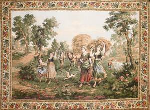 031175 FRENCH WOVEN TAPESTRY C 1950 46 X 63
