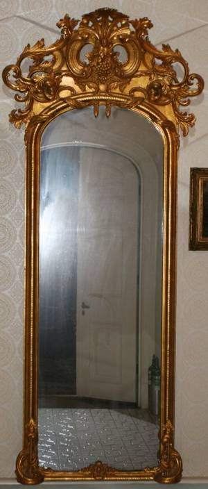 GOLD LEAF CARVED WOOD  GESSO PIER MIRROR