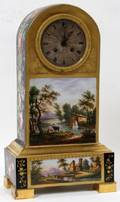 122088 FRENCH HAND PAINTED PORCELAIN CLOCK 19TH C