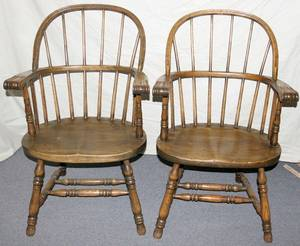 022132 ENGLISH OAK BOWBACK WINDSOR ARMCHAIRS ANTIQUE