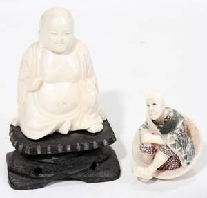 020116 CHINESE IVORY BUDDHA  JAPANESE IVORY NETSUKE