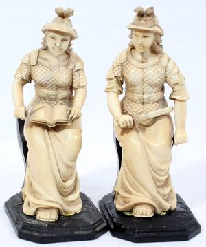 020105 CHINESE CARVED IVORY EUROPEAN STYLE FIGURES