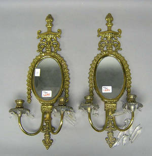 Pair of gilt metal 2arm sconces Provenance The Estate of Anne Brossman Sweigart