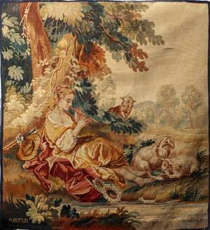 122158 AUBUSSON WOOL FRENCH TAPESTRY 19TH C