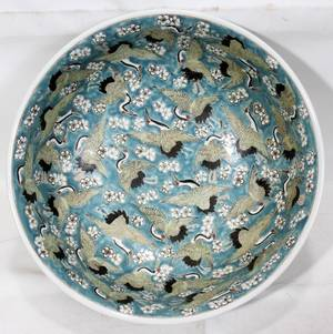 022145 CHINESE ENAMELED PORCELAIN BOWL H 6 DIA 16
