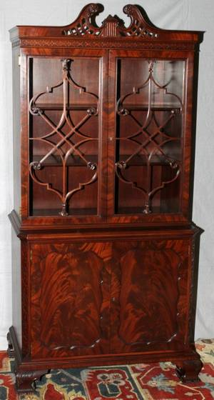 CHIPPENDALE STYLE MAHOGANY CHINA CABINET C1940