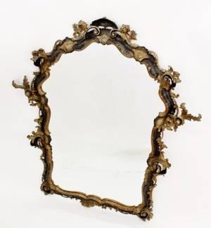 19th C Italian Carved Gilt and Ebonized Mirror